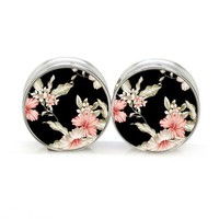Stainless Steel Double Flared Black Floral Ear Gauges Plugs 7/16 Inch 11mm