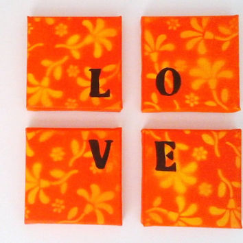 Mini Canvas Love set - Acrylic painting flower background - Typography love set - orange and yellow flower - Wall art decor - modern art