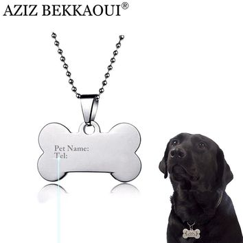 Engrave Logo Identification Tag Necklace Stainless Steel Carve Dog Name Tel Tag Cat Dog Puppy Pet ID Tag Laser Engrave Necklace