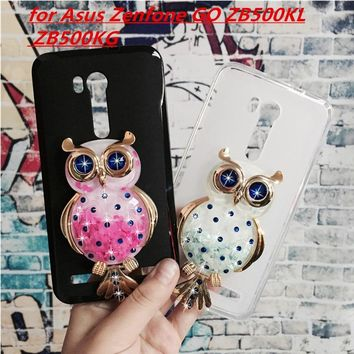 Original Phone Cases Cover for Asus Zenfone GO ZB500KL ZB500KG 3D Quicksand Liquid Soft Silicone Case Girl Back Covers Capa