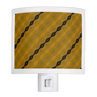 Modern Abstract Stripe in Black, Gold, and Olive Night Light
