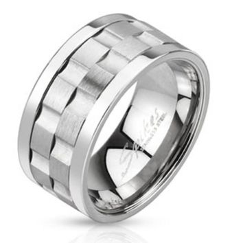Gear Shaped Center Double Spinner Ring Stainless Steel