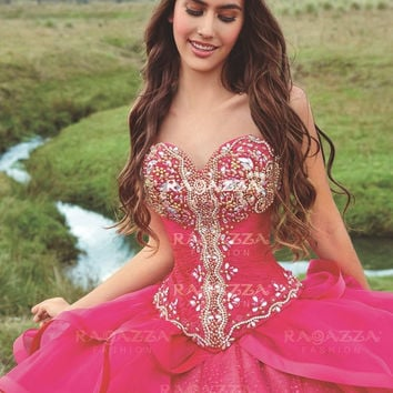BEADED STRAPLESS QUINCEANERA DRESS BY RAGAZZA FASHION STYLE B77-377
