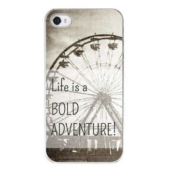 iphone 4s cover . iphone 4s case . custom phone case . steampunk . carnival photography . black and white . geekery . Bold Adventure