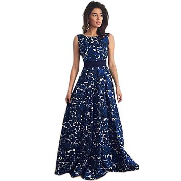 Stylish Round Collar Sleeveless Floral Print Sash Waist Bowknot A-Line Maxi Party Dress for Women