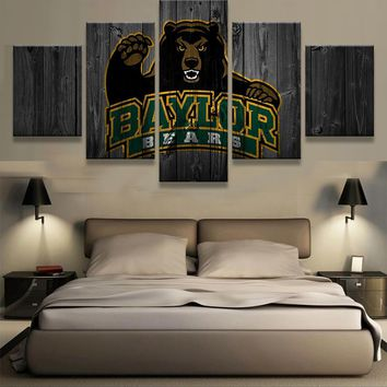 Baylor Bears: 5pc Baylor Bear Wall Art; 3 sizes available, with or without frames