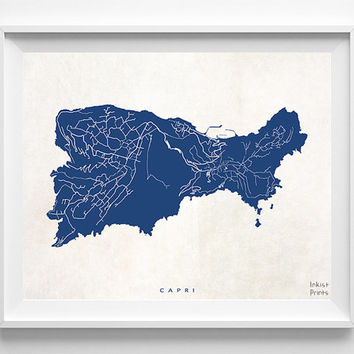 Capri Map, Italy Print, Capri Poster, Italy Poster, Decor Idea, Home Town, Giclee Print, Dorm Decor, Bedroom Decor, Halloween Decor