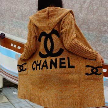 Chanel Khklai Hooded Sweater Knit Cardigan Jacket Coat