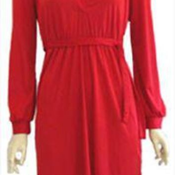 Red Polyester Disco Dress 1970s