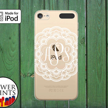 White Lacy Monogram Filigree Floral Cursive Cute Custom Clear Case For iPod Touch 5th Generation and iPod Touch 6th Generation iPod 5 iPod 6