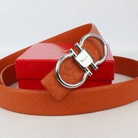 Salvatore Ferragamo Women's 23A481567623calendula Orange Leather Belt