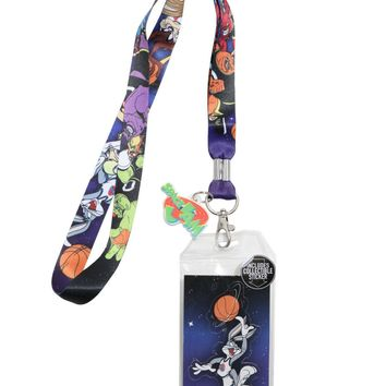 Licensed cool Space Jam Character Lanyard ID Card Holder W/Rubber Charm Looney Tune Warner Bro