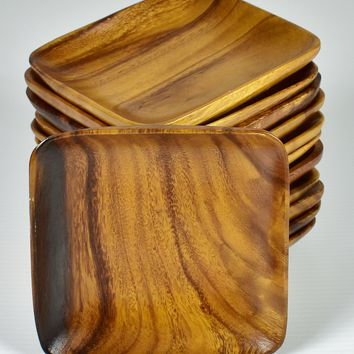 """Vintage 6"""" Monkey Pod Square Wood Plate Set of 12 - Hand Carved Beautiful!"""