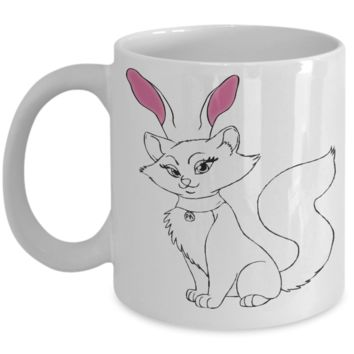 Funny Cat Bunny Easter Mug For Cat Mom & Dad, Animal Mug Art Kitten Rabbit, Treats For Adults Eggs, Chocolate, Candy Jar, Easter 2017 2018