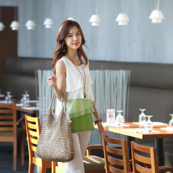 Korean Style Multi-Layered Sleeveless Vest