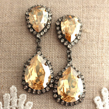 Topaz Crystal Black Chandelier earrings, Swarovski  earrings, Bridal earrings,Champagne statement earrings, Topaz chandelier Halo earrings.