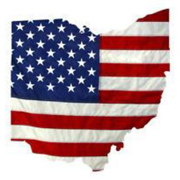 State of Ohio Realistic American Flag Window Decal - Various Sizes