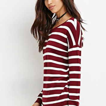 Striped Drop-Sleeve Sweater