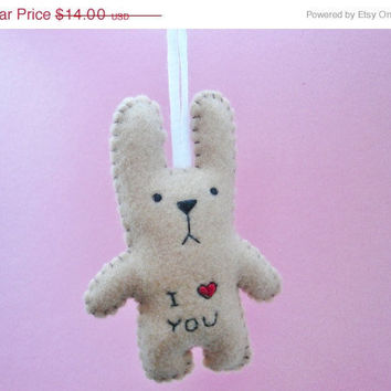 Christmas in July 20% OFF Stuffed animal ornament - I heart you funny bunny - good for Christmas tree decoration or gift