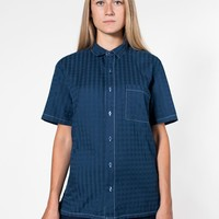 rsacp403pw - Unisex Window Weave Short Sleeve Button-Up with Pocket