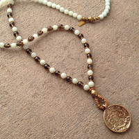 Communication and Positivity, Amazonite and Smoky quartz beaded necklace with Tibetan pendant, 108 bead mala