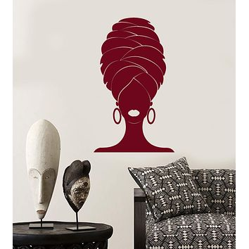 Vinyl Wall Decal Abstract African Woman In Turban Black Lady Stickers (2946ig)