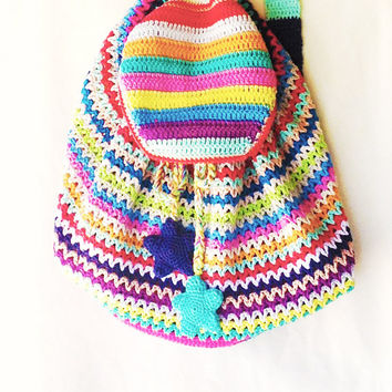 Crochet Bag Rucksack Backpack Knapsack Pattern - Instant Download