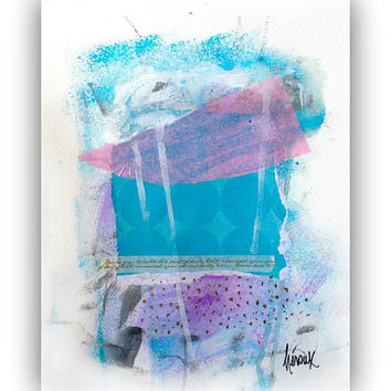 Art Collage Art, Original Mixed Media Art - Blue&purple Abstract Art collage on paper 11x14