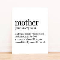 Printable Art Mother Definition Typography Poster Home Decor Bedroom Decor