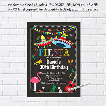 Mexican Fiesta Birthday invitation, Fiesta Party Birthday Invitation for any age,  Whimsical design  Colorful Festive birthday - card 330