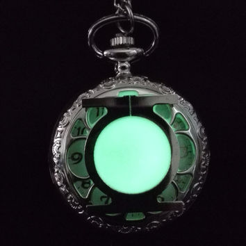 Glowing stainless steel Green Lartern pocket watch necklace, Silver steampunk pocket watch, Gift for him, Glow in the dark Jewelry