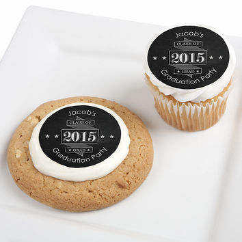Chalkboard Cheers - Personalized Graduation Party Edible Cupcake Toppers - 12 ct