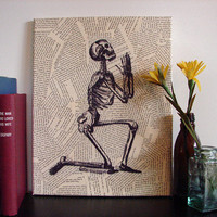 Canvas Wall Art Praying Skeleton by Stoic on Etsy