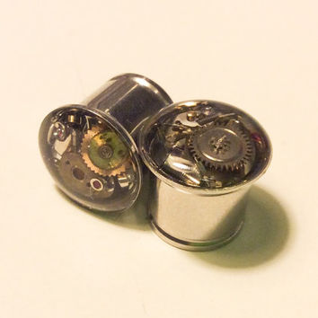 00g Single Flare Steampunk Tunnels Gauges Plugs filled with watch parts LIMITED EDITION