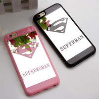 Lover Cell Phone Mirror Case for iphone 6 6s plus 5s SE Superman Case Soft Silicone Frame Phone Back Cover For iphone 6 6s Capa