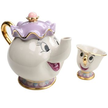 Hot Sale Old style Cartoon Beauty And The Beast Teapot Mug Mrs Potts Chip Tea Pot Cup One Set nice Christmas gift Free Shipping