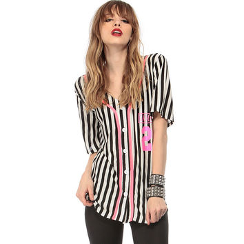 Striped And Number Printed Button Down Blouse