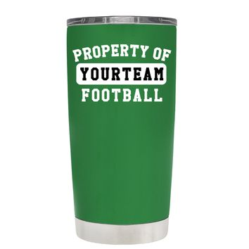 TREK Property of Football Personalized on Kelly Green 20 oz Tumbler Cup