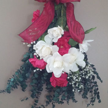 Rose door swag- rose bouquet-wedding decor- rose wreath- door hanger