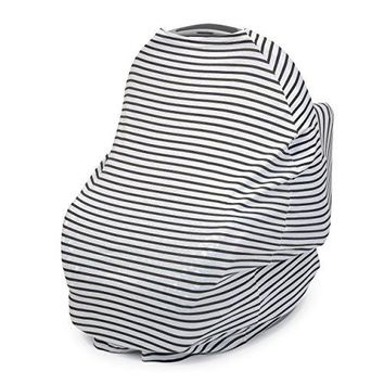 Organic Cotton Carseat Canopy & Nursing Cover, Stretchy and Soft in Classic Black White Stripe, Perfect Baby Gift