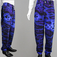 Vintage GIANNI VERSACE Mens 80s 90s Jeans Leopard Print Pants Blue & Purple High Waisted Pants Mens Denim Trousers Designer Jeans Tapered