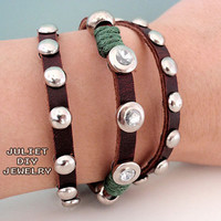 Leather rivet multi strand punk wrap bracelet by julietdiyjewelry