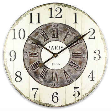 PARIS Shabby Chic Wall Clock 24x24 Inches Mdf & Fabric