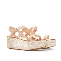 NAPPA LEATHER WEDGE WITH GLITTER PLATFORM