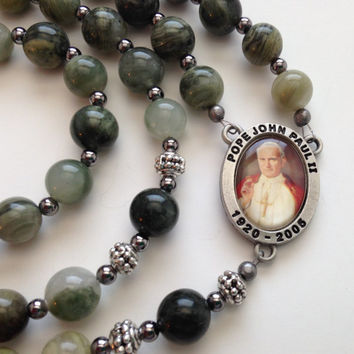 Saint John Paul II Rosary, Green Line Jasper, Catholic Prayer Beads, Green Rosary, Religious Gift, Silver Crucifix
