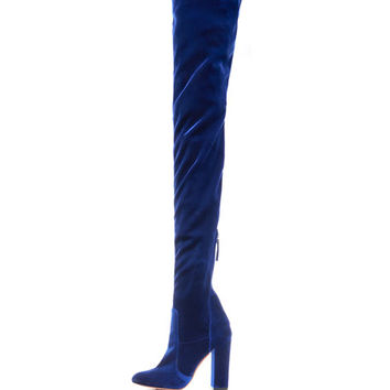 Aquazzura Velvet 105mm Thigh-High Boot, Midnight