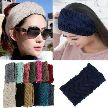 DKLW8 Promotion! Winter Beauty Fashion 13 Colors Flower Crochet Knit Knitted Headwrap Headband Ear Warmer Hair Muffs Band Q1