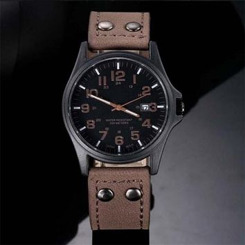 Military Sport Analog Quartz Watch with Date and Faux Leather Strap