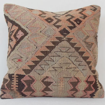 ORGANIC Shine  Handwoven Turkish Kilim Pillow, PastelPink Peach Brown Beige Decorative Kilim Pillow, Kilim Pillow Throw,  16' x 16' inch