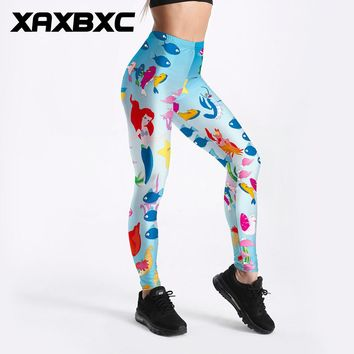XAXBXC 3290 Sexy Girl Pencil Pant Under The Sea Little Mermaid Ariel Print Elastic Slim Fitness Workout Women Leggings Plus Size